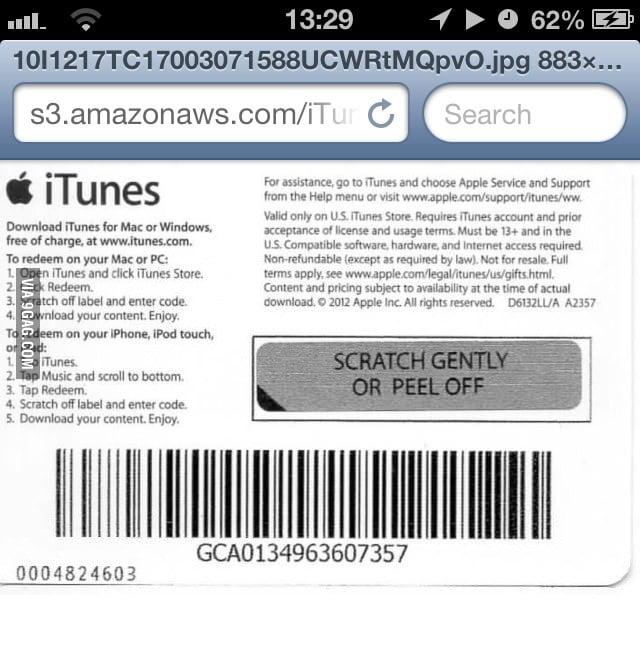 Bought an iTunes gift card online - 9GAG