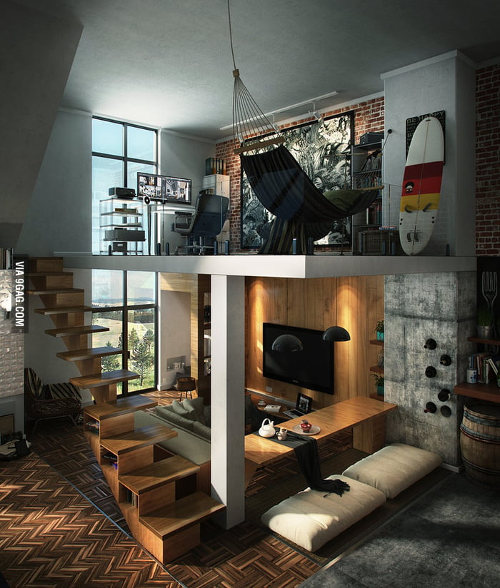 Cool bachelor pad with loft! I want to live here...