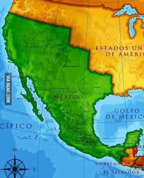 Border of Mexico USA before the war of 18441848 9GAG