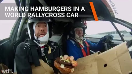 Making a burger in a rally car