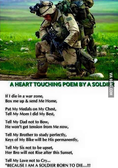 A Heart touching poem by a Soldier. - 9GAG