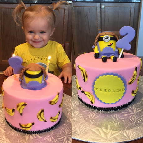 Excellent I Think Caroline Liked Her Minion Cake Birthday Cake With Cotton Funny Birthday Cards Online Unhofree Goldxyz