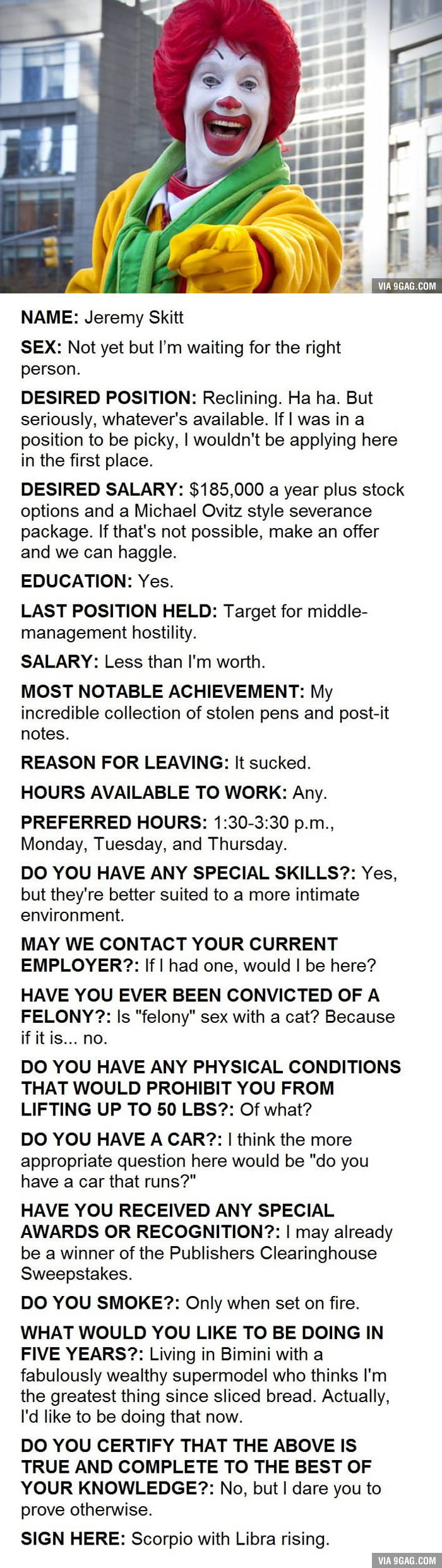 This Is An Actual Job Application Submitted To A McDonald\'s In ...