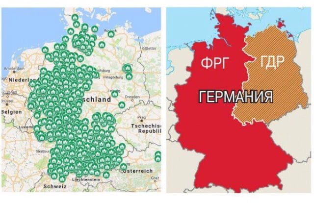 Map Of Germany Today.Interesting Observation On The Left The Map Of The Mosques In