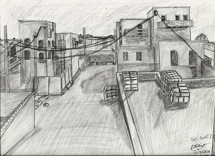 CSGO DeDust 2 Map this is my first time trying to draw
