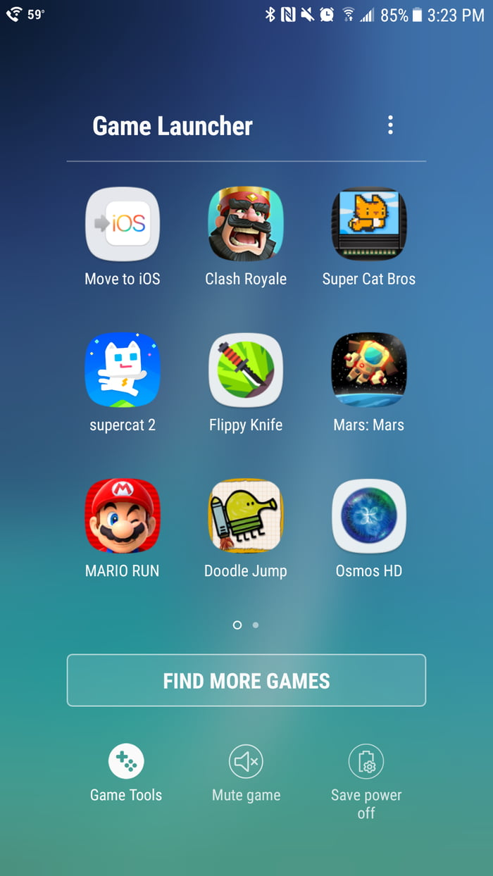 Samsung's game launcher categorizes the Move to IOS app as a