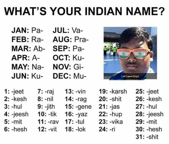 Image result for what is your indian name meme
