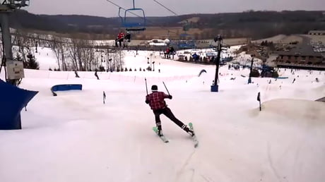 Massive ski jump and one of the best high fives ever