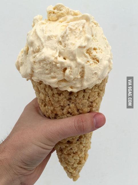 The Rice Krispies Treat Ice Cream Cone - 9GAG