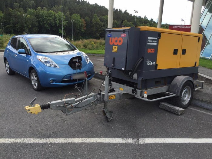 Oh The Irony Charging An Electric Car With A Generator