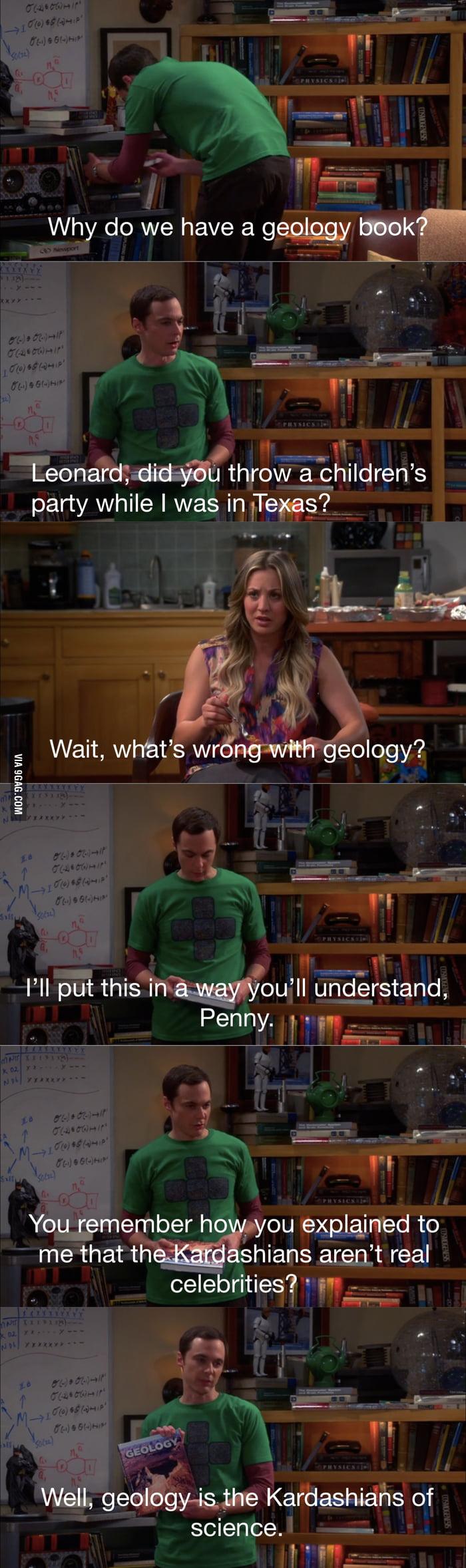 Sheldon's opinion on geology