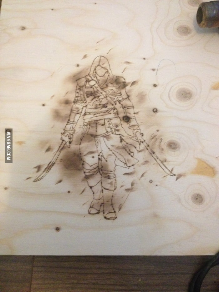 Practising Wood Burning For A Pirate Themed Custom Guitar