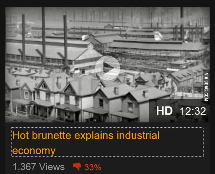 Hot brunette explains industrial economy