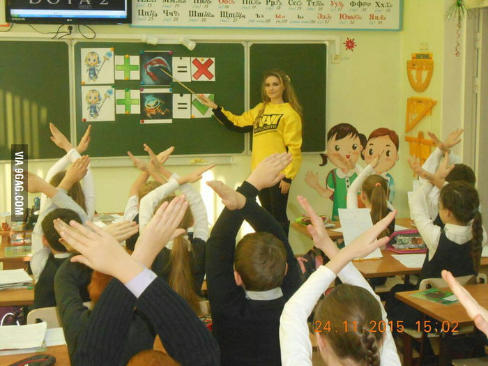 Dota 2 taught in russian classroom recently by crystal maiden teacher in  navi hoodie.