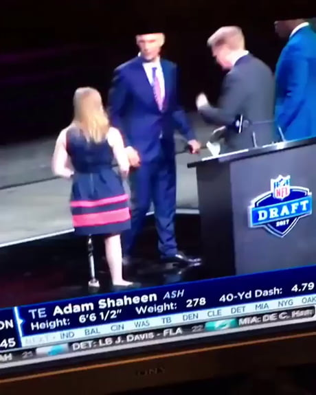 NFL commissioner wipes a booger on a handicapped girl