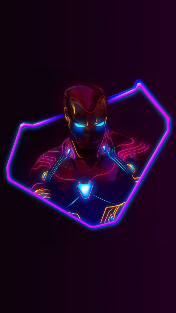 A Minimalistic Neon Themed Iron Man Wallpaper For Stark Fans 9gag