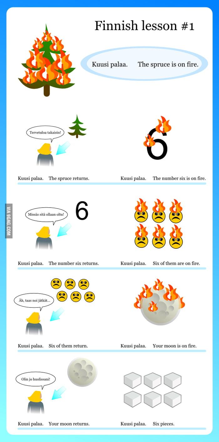 Finnish lesson #1: Kuusi palaa.