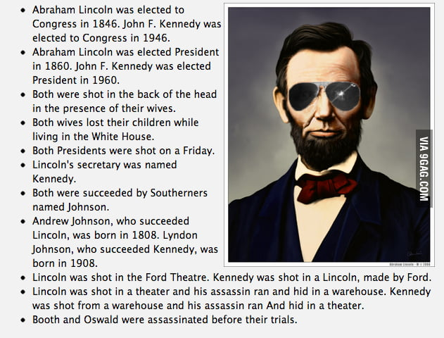Weird similarities between Abraham Lincoln and John F. Kennedy.
