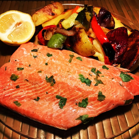 Cold Smoked Sous Vide Salmon and Roasted Vegetables