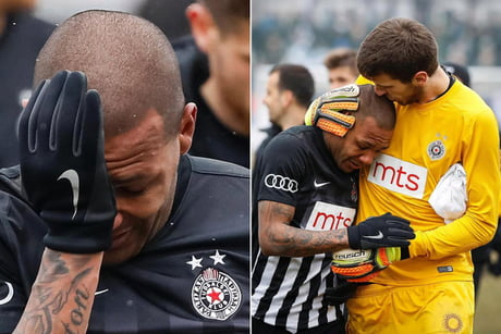 Footballer left the field in tears after suffering racial abuse from the Serbian crowd all game long. Actually gave me feels