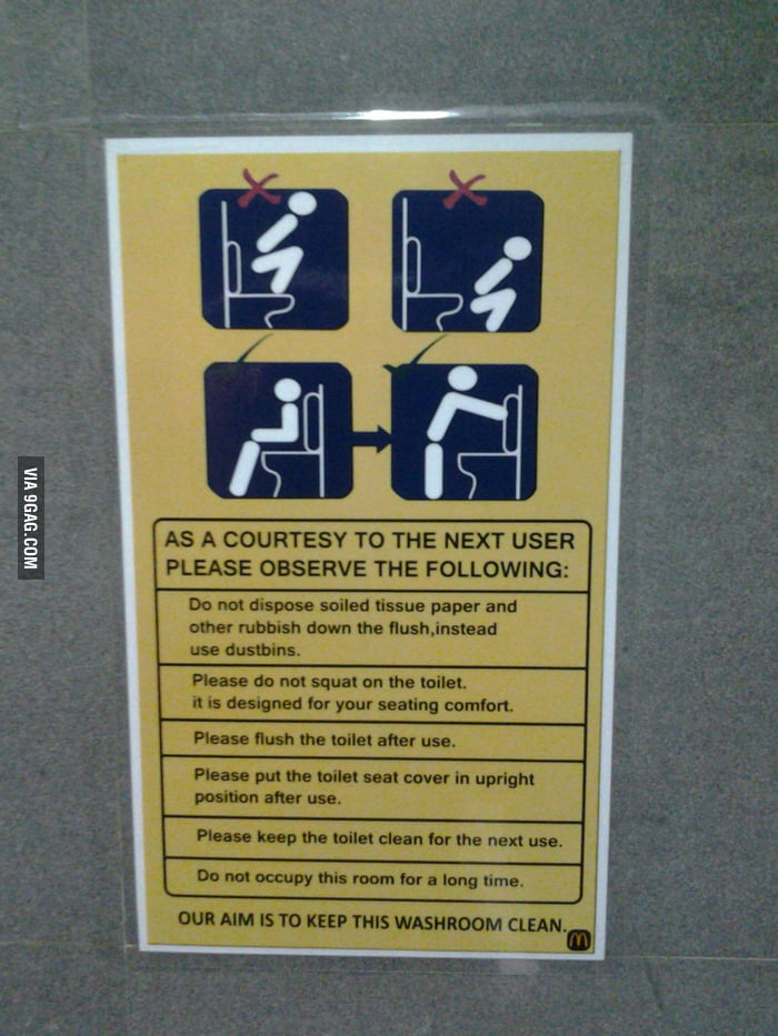 Found this notice in the washroom of a McDonalds in India - 9GAG