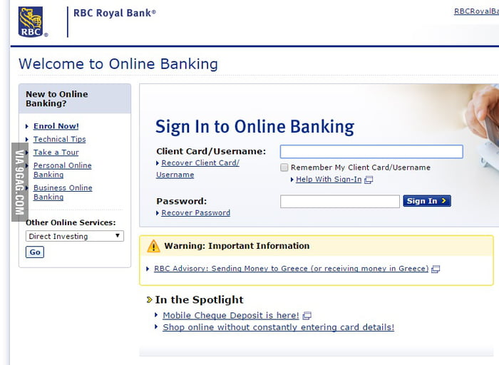 Just My Bank Warning Me Not To Send Money Greece