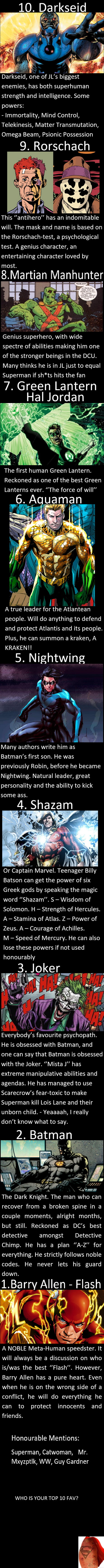 My Top 10 Fav DC Characters  What is your top 10? - 9GAG