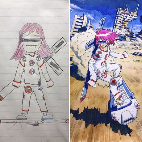 This guy makes anime versions of his daughter's drawings.