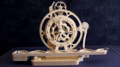 This Remontoir clock made of wood