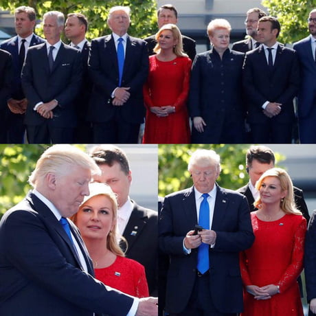 Find someone that looks like at you like the President of Croatia looks at Donald Trump.