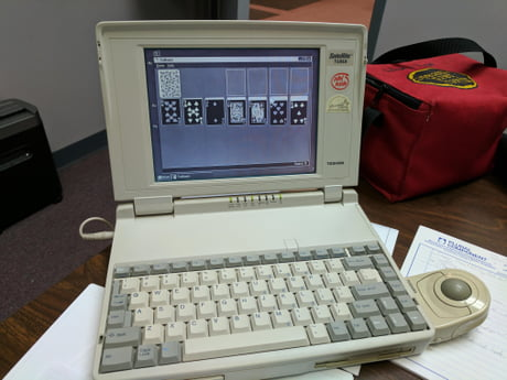 "My old work laptop. A monster 200mb hdd, and a 3.5"" floppy. This thing screams!"
