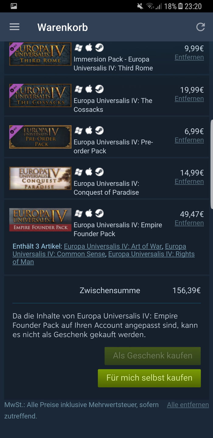 All Eu4 big dlcs total price the real game costs f**king 40€  sry
