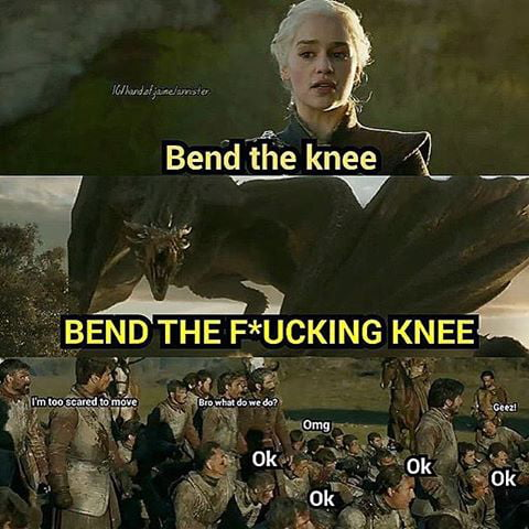 Image result for bend the knee