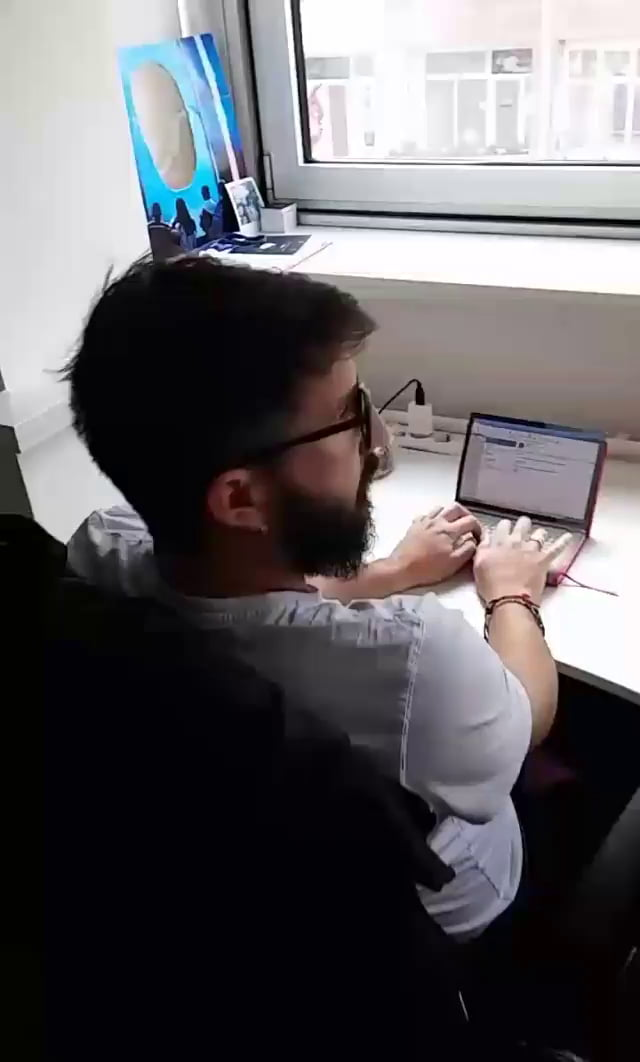 He came to work without his laptop, but he will not let anything stand between him and productivity