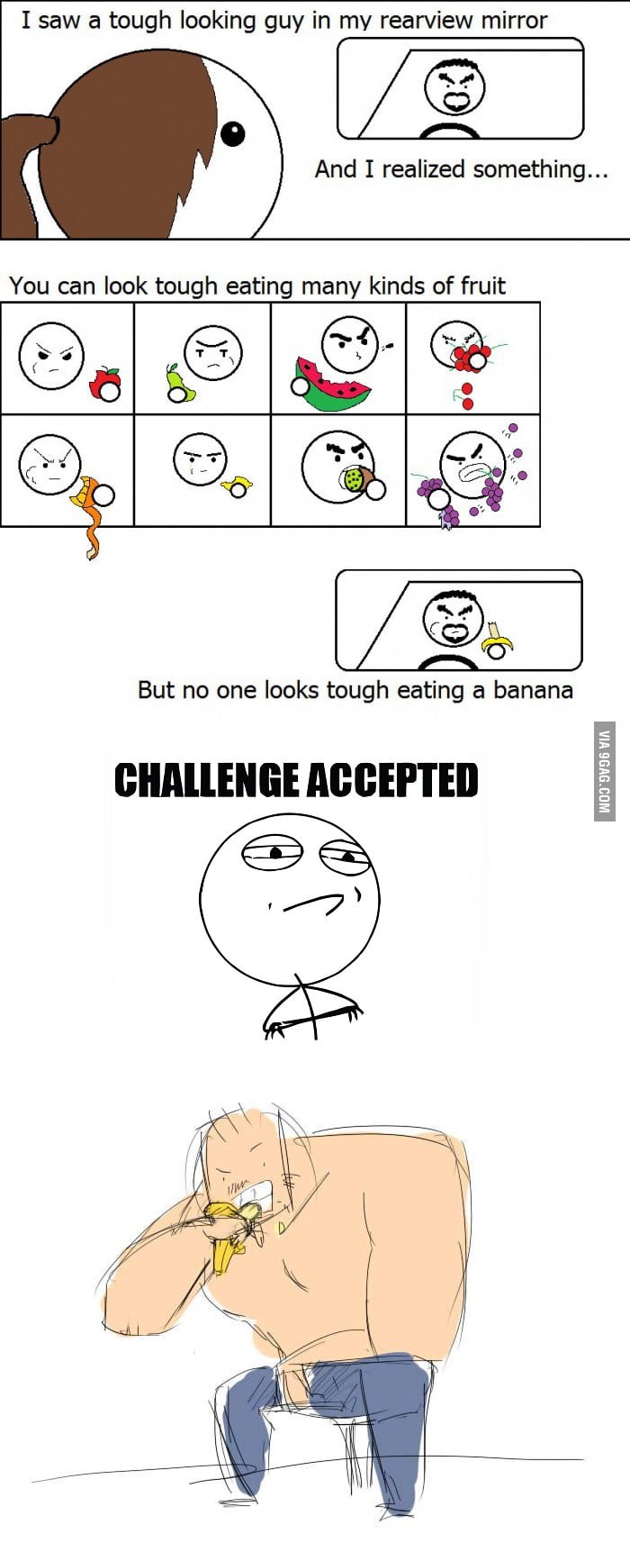 Challenge Accepted - Tough guy eating Banana drawn by my malaysian designer friend Yuki.