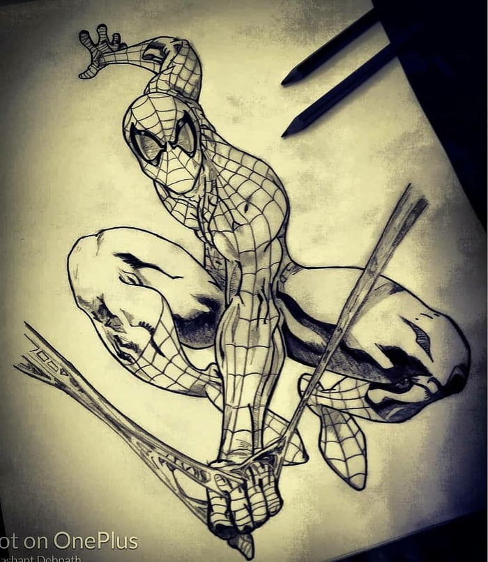 Here Comes The Friendly Neighborhood Spiderman Pencil Sketch 9gag