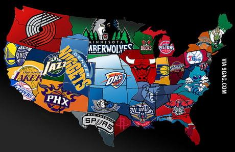 NBA Map of America - 9GAG