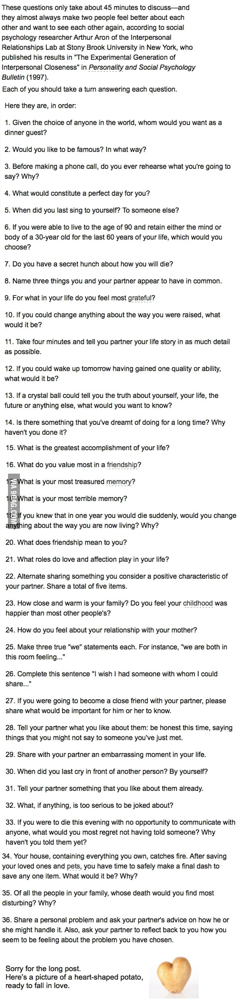 Questions to fall in love