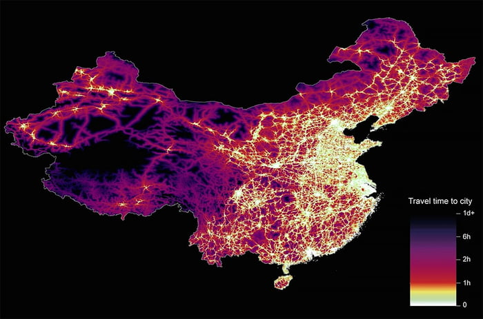 Travel times to cities around the world 9gag the dataset used for china was unique as it relied solely on open street map due to restrictions on accessing google data the population is densely gumiabroncs Choice Image