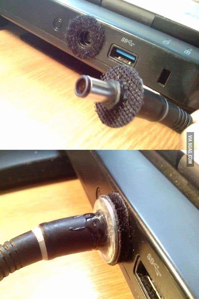 My laptop charger kept falling out.