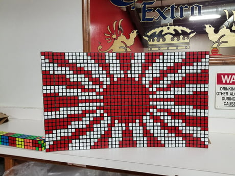 Rising Sun flag, 135 Cubes, it's almost done but I figured I'd post it because it looks good