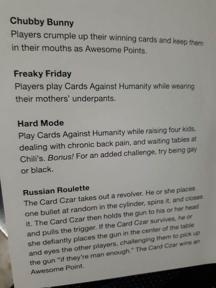 From The Official Instructions Of Cards Against Humanity 9gag