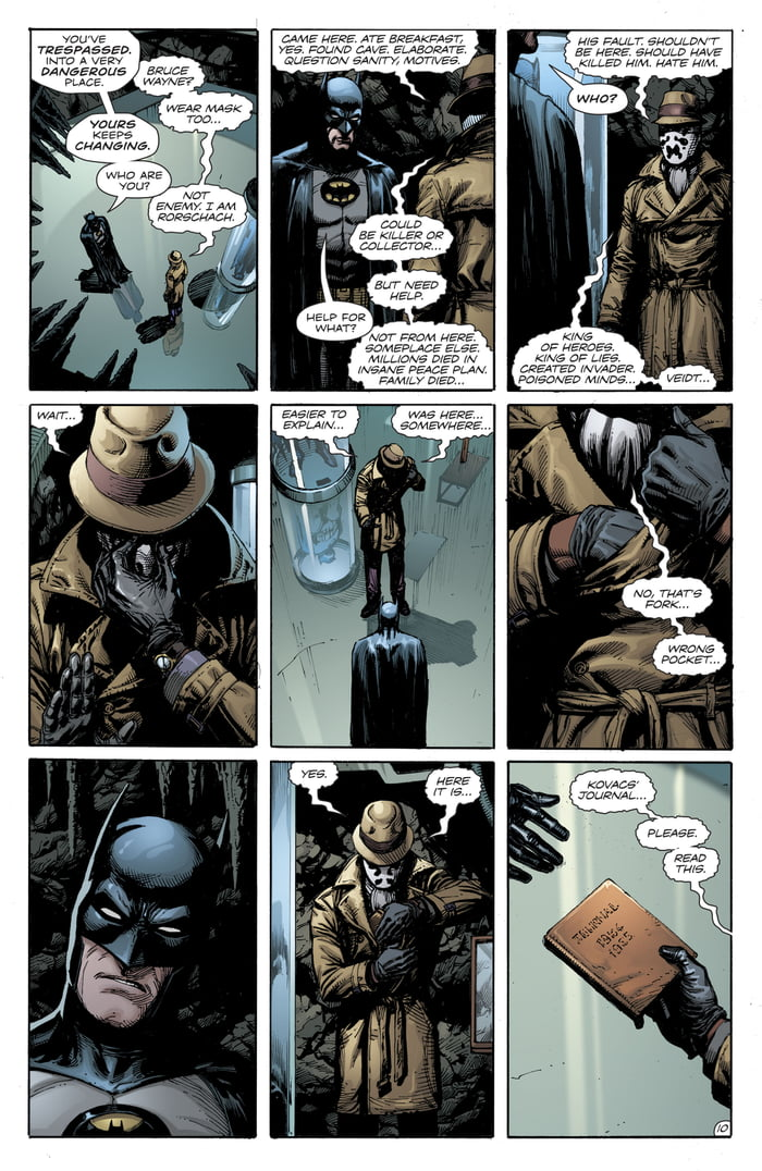 Rorshach broke into the batcave, gets a warm welcome from batman