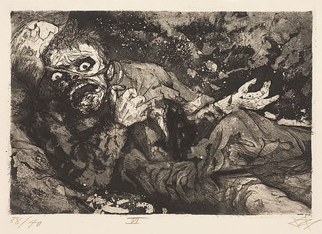 """""""Wounded soldier – Autumn 1916, Bapaume"""" By Otto Dix"""