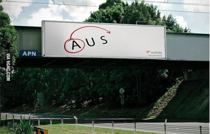 Clever ad for Virgin Airlines flights from Australia to the States.