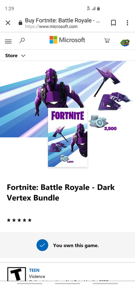 The Microsoft Website shows that you will get 2,500 V-Bucks