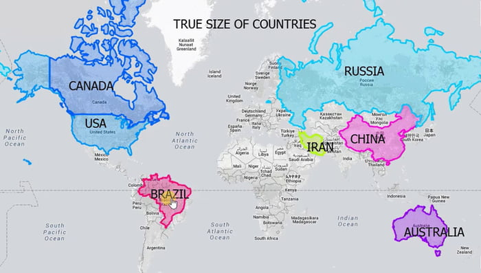 True Size Of Countries - 9GAG