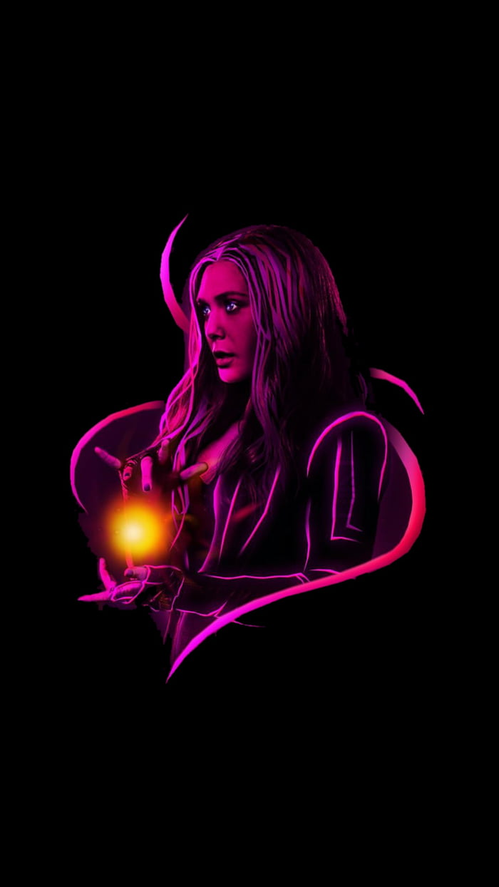 HD Neon Traced Scarlet Witch Wallpaper With Black Overalls So It Doesn039
