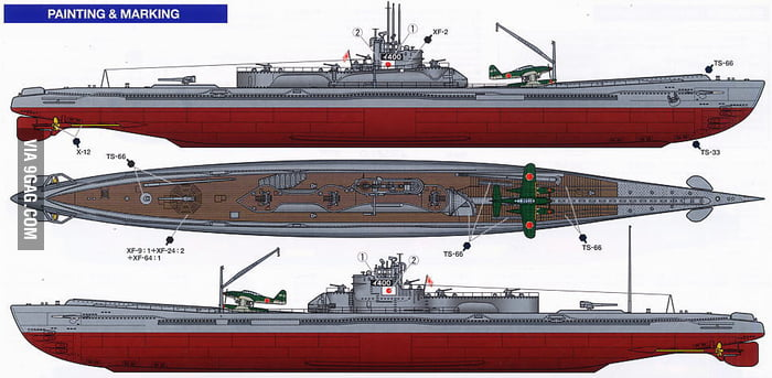 A WW2 Japanese submarine and aircraft carrier  They went Red Alert 3