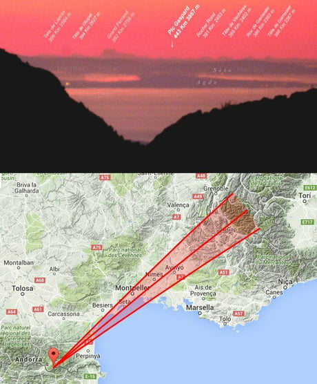 This is the longest ground-to-ground photo ever taken - a shot of the Alps taken from the Southern France